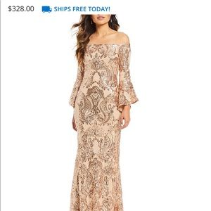 Betsy & Adam Dresses - Sequined Off-Shoulder Flutter Sleeve Gown